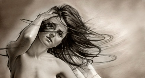 Bare Allurement - Pencil drawing - Charcoal - Airbrush painting by Melody Owens