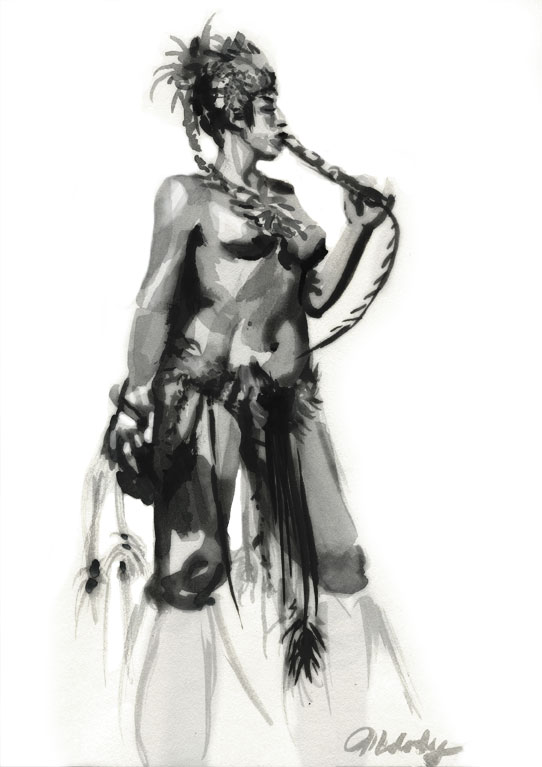 figure drawing model, melody owens watercolor