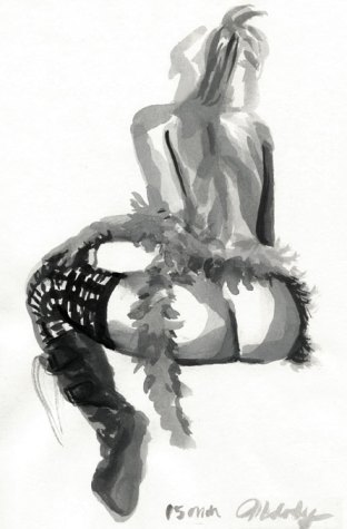 Figure drawing, watercolor art by Melody Owens