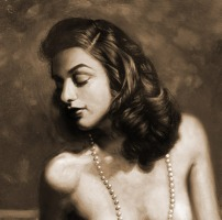 Gouache Painting & Oil Painting of playmate Dolores Delmonte by Melody Owens