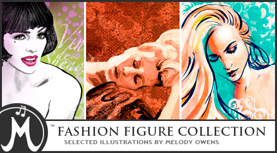 Fashion illustration high fashion figure drawings art collection by Melody Owens