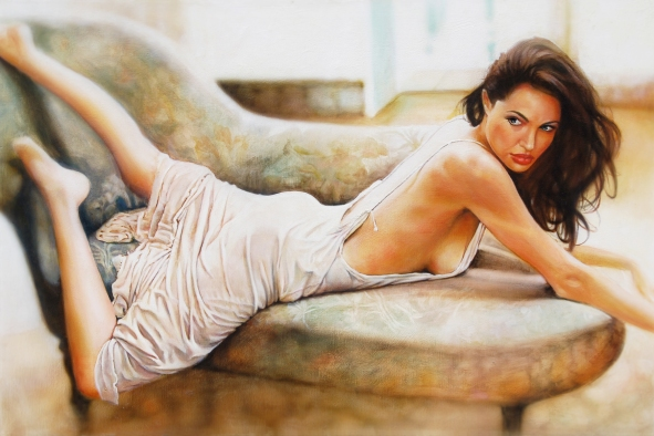 Angelina jolie oil painting by Melody Owens
