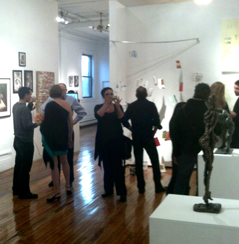 Crowd at Broadway Gallery NYC art show Featuring Melody Owens Art