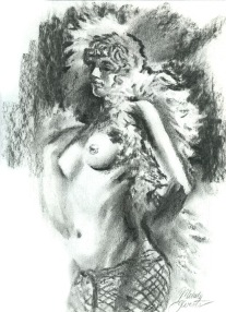 Fine Art Figure Drawing - Charcoal of Female Nude