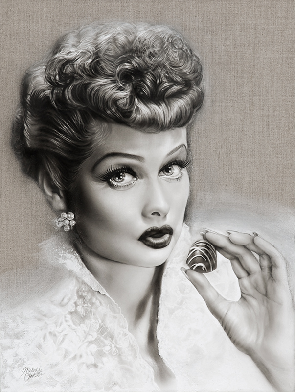 """I Love Lucy"" Pencil Portrait of Lucille Ball by Melody Owens"