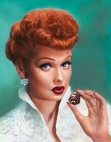 Lucille Ball art - I Love Lucy & Chocolate painting by Melody-Owens