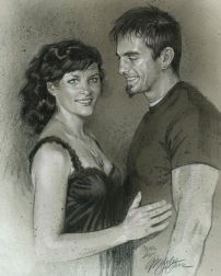Sam & Mike colored pencil & charcoal portrait by Melody Owens