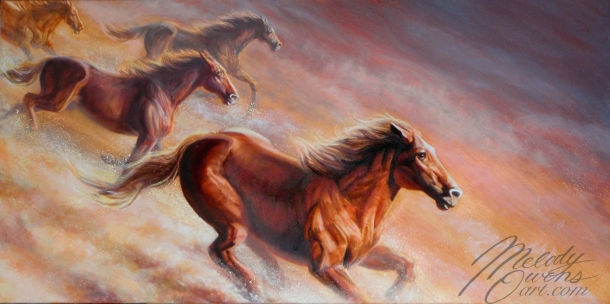 finished born free wild horses painting by Melody Owens