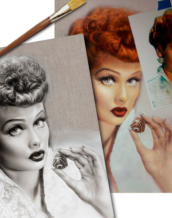 I Love Lucy starlet Lucille Ball portrait art by Melody Owens