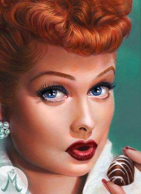 """I Love Lucy & Chocolate!"" Original Oil18×24"