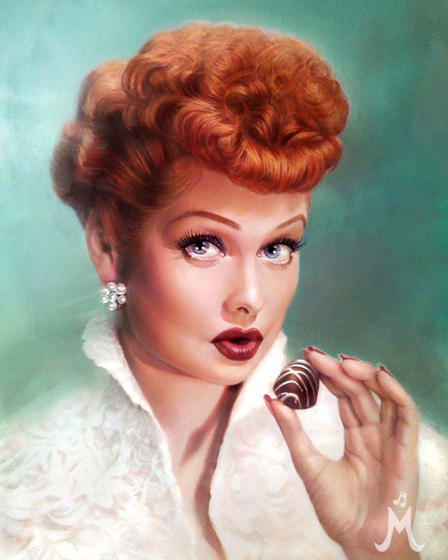 original lucille ball, I Love Lucy & chocolate oil painting by Melody Owens