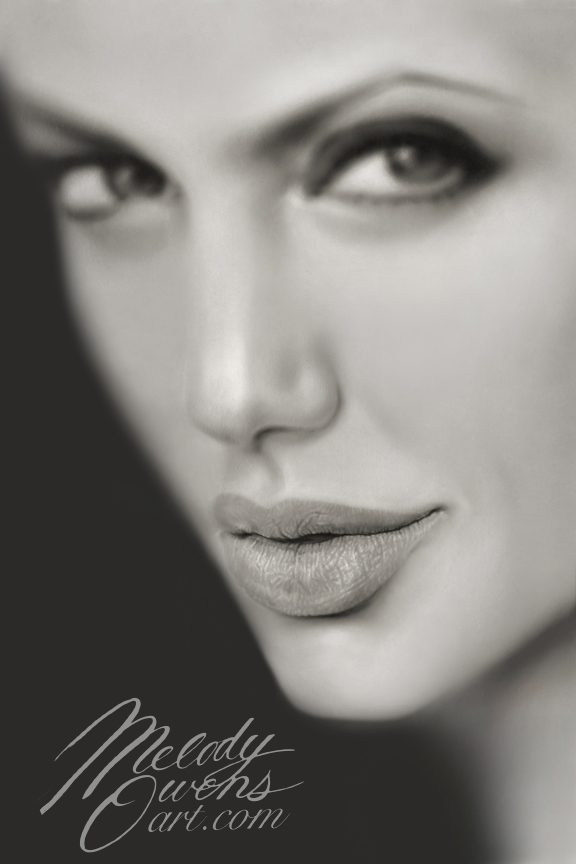 Angelina Jolie's lips by Melody Owens, Liquid Lead Art of Angelina