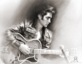 Elvis Presley on his 1968 Comeback Tour – Original drawing