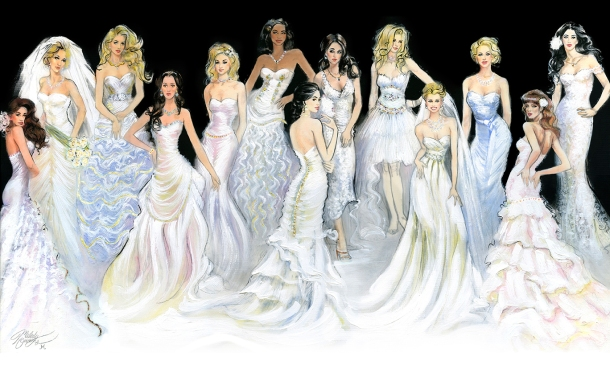 fashion illustration, fashion art, bridal portraits by Melody Owens