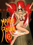 Moulin Rouge art, fashion illustration by Melody Owens