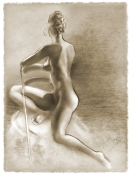 "Charcoal of figure Twisted 11""x14"" $55 on watercolor paper >>"