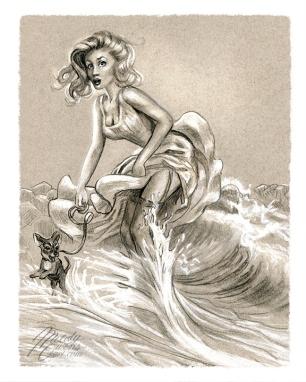 pinup sketch at the wedge retro 50s girl surprise splash