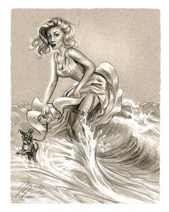 pinup sketch at the wedge retro 50s girl surprise splash