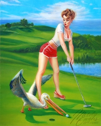 retro rockabilly pinup 50s style golf girl Melody Owens