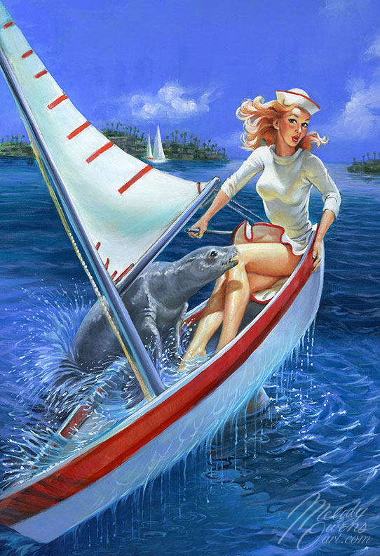 Cute Sailor girl seal splash retro pinup painting