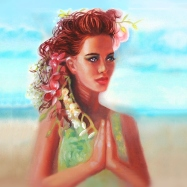 beach yoga prayer pose beautiful grace melody owens
