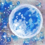 blue moon, july, new moon, full moon, painting, art, fantasy, mysterious art